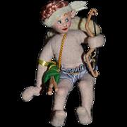 Vintage Doll Cloth Doll Cupid Angel W/ Bow and Arrow Roldan