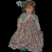 Old Doll Cloth Doll Chad Valley W/ Glass Eyes English Doll