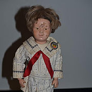 Antique Doll Schoenhut Wood Carved Jointed W/ Button