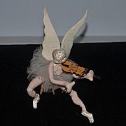 Old Doll Cloth Doll Felt Doll Cherub Angel Playing Violin on Stool Roldan Spain Ballerina