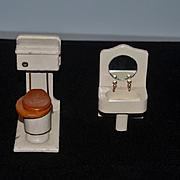Old Doll Miniature Bathroom Set Wood Painted Dollhouse