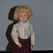 Antique Doll Wood Schoenhut Jointed Carved Unusual Pouty