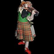 Vintage Doll Roldan of Spain Cloth Doll Felt Doll Red Head Girl Playing Violin