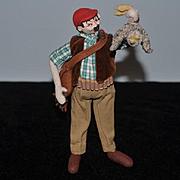 Vintage Doll Roldan Cloth Doll Felt Doll Character Hunter
