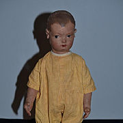 Old Doll Oil Cloth Doll Rag Doll Jointed Applied Ears Wonderful