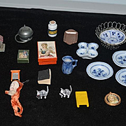 Old Doll Miniature Lot For Dollhouse Santa Picture Kitty Cat Church Pottery Boxes & MORE
