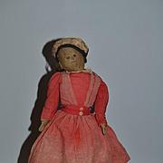 Old Cloth Doll Rad Doll Primitive Folk Art Old Clothing Black Cloth Doll
