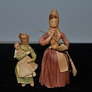 Old Doll Set Corn Husk Dolls Mother and Baby and Grandmother WONDERFUL