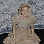Antique Doll Wax Over Papier Mache Original Clothing W/ Provenance Large Doll Bagmans Baby Split Head Folk Art
