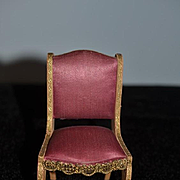Old Fancy Doll Chair Miniature Dollhouse Upholstered Wood