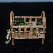 Vintage Doll Wood Cane Miniature Doll Bed Crib Fairylite