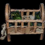 Vintage Doll Wood Cane Miniature Doll Bed Crib Fairylite
