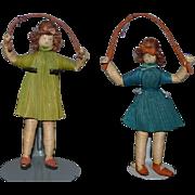 Old Doll Set Jump Rope Twins Miniature Wonderful Dolls Corn Husk