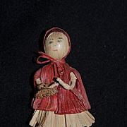 Wonderful Doll Miniature Corn Husk Doll Little Red Riding Hood Dollhouse