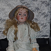 """Antique Doll Large Bisque Head Doll # 136 28"""" Beauty"""