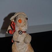 Unusual Old Rabbit Mohair Stuffed Bunny W/ Unusual Markings Doll Friend
