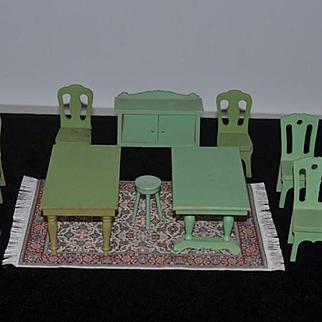 Wonderful Dollhouse Miniature Lot Green Painted Furniture W/ Dollhouse Rug