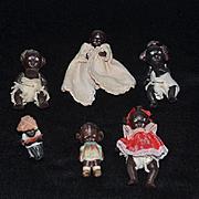 Old Doll Miniature Lot Bisque Figurine & Dolls Black Dolls