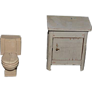 Old Doll Miniature Dollhouse Toilet Potty and Cabinet Bathroom Set
