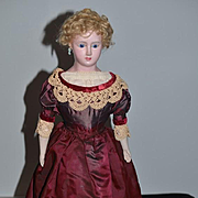 Antique Doll Wax Over Papier Mache Paper Mache Glass Eyes Fashion Lady