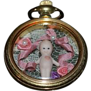 Vintage Doll Artist Made Diorama in a Pocket Watch Kewpie Miniature Dollhouse