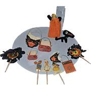 Vintage Doll Miniature Halloween Items.. Pumpkin Witch Cat Miniature Candy Containers Paper Dollhouse