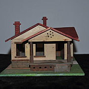 Old Wood Miniature Dollhouse Farm House Old Paint Detail School House