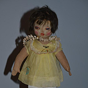 Antique Doll Cloth Doll French Very Unusual Oil Cloth Wonderful Painted Features Etta Kidd