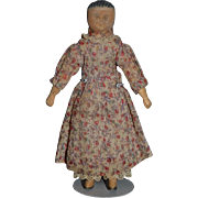 Old Doll Carved Wood Miniature Dollhouse Carved Drawn on Features Cloth Doll