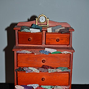 Miniature Doll Chest Wood W/ Fabric & Clock Display Item For Doll Joyce Patterson Artist
