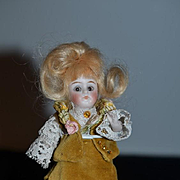Antique Doll Mignonette All Bisque Swivel Head Dressed Miniature Dollhouse