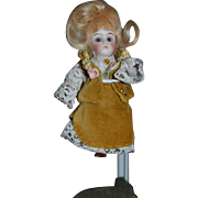 Antique Doll Mignonette All Bisque Swivel Head Dressed Miniature Dollhouse