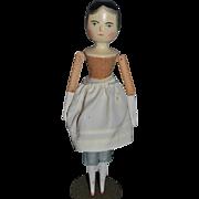 Vintage Doll Wood Grodnertal Fred Laughon Signed W/ Message Jointed Carved