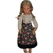 Old Doll Kathe Kruse Cloth Doll Oil Painted Young Girl Character WONDERFUL Signed