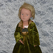 "Antique Doll Schoenhut Character Doll LARGE 21"" Tall Wood Carved Doll"