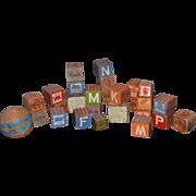 Antique Doll Child Wood Blocks Toy Blocks ABC Blocks And Wood Ball