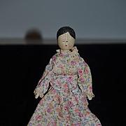 Old Doll Wood Grodnertal Jointed Carved Folk Art Doll