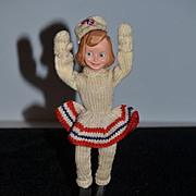 Old Doll Wood Carved Ice Skater Girl Original Tag Mimi Berg's