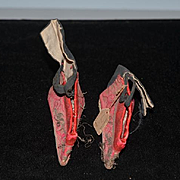 Antique Chinese Miniature Silk Lotus Bound Feet Feet Binding Ornate Or Doll Shoes