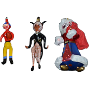 Wonderful Doll Glass Ornament Lot Including Santa Kitty Cat Football Player Italian
