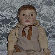 Antique Doll Philadelphia Oil Cloth Doll RARE RAG DOLL