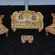 Old Doll Miniature Dollhouse Bliss Furniture Litho & Wood ABC's