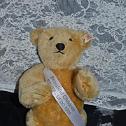 Wonderful Teddy Bear Doll Friend UFDC W/ Button Ear and Sash and Original Tag