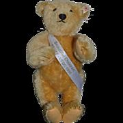 Wonderful Teddy Bear Doll Friend UFDC W/ Button Ear and Sash and Original Tag