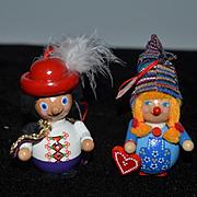 Vintage Steinbach Wood Carved Doll Set Ornate W/ Original Box