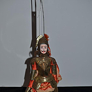Wonderful old Doll Papier Mache & Wood Doll Puppet Tin Armor Silk Clothing Puppet Provenance Marionette