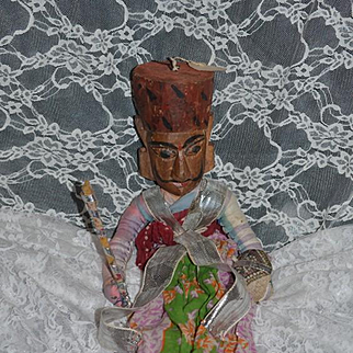 Wonderful Old Wood Carved Doll Two Faces in Original Costume