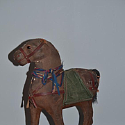 Antique Horse Papier Mache Pull Toy Glass Eyes Award Winning Doll Toy Display