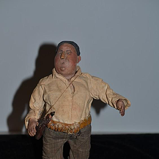 Old Doll Oil Cloth Doll Unusual Character Amazing Detail Folk Art