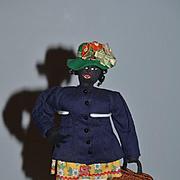 Wonderful Old Cloth Doll Black Cloth Doll Sewn Features